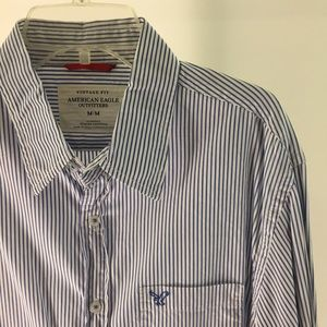 American Eagle Blue Striped Button Up